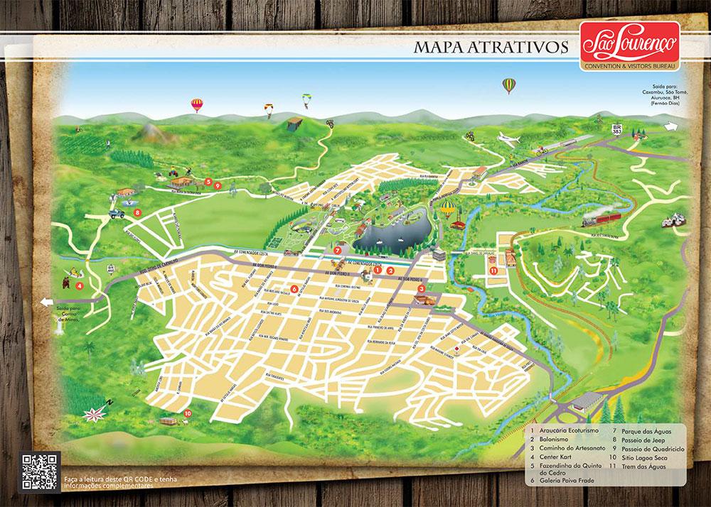 Mapa Atrativos São Lourenço CVB